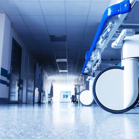 Medical bed on wheels in the hospital