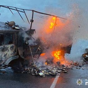 В результаті зіткнення автомобілів на Хмельниччині обидва зайнялися та вигоріли вщент..