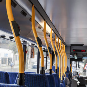 The interior of the commuter bus