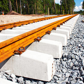 Concrete railroad ties in railway construction site