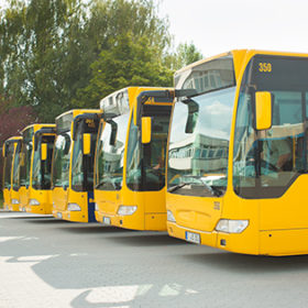 Busses parking in row on bus station or terminal waiting for their next service