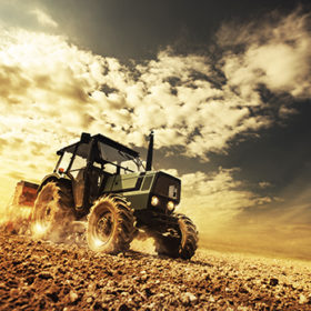 Farmer in the fields driving a tractor on fertile soil during a sunny summer day