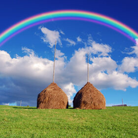 Summer mountain village landscape with a rainbow over haystacks