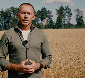 чоловік у полі пшениці