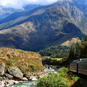 Railway to Machu Picchu through mountains and rivers