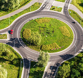 aerial view of roundabout in wroclaw city