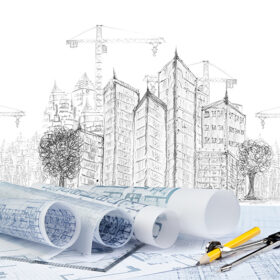 sketching of modern building construction and plan document use for construction theme