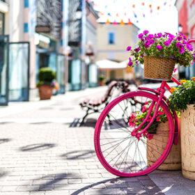 рожевий велосипед з квітами