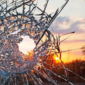 broken glass at sunset