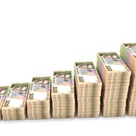 Ukrainian money grivna isolated on white background